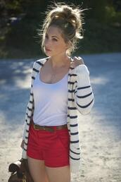 sweater,cardigan,stripes,shorts,red shorts,black and white striped cardigan,white tank top,blouse