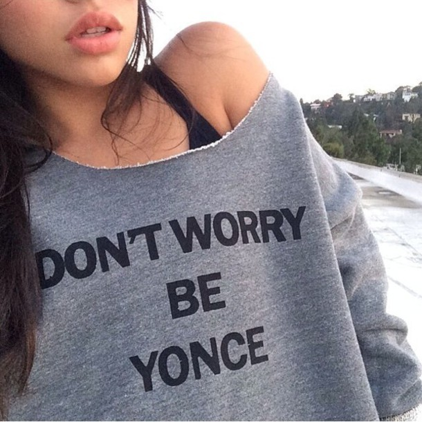 beyonce sweater grey off the shoulder sweater