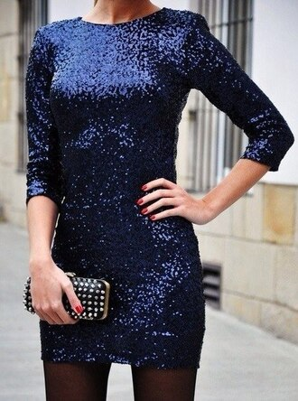 dress fashion party dress clubwear sequin dress blue blue dress paillettes night dress going out dark stars shine sky short dress