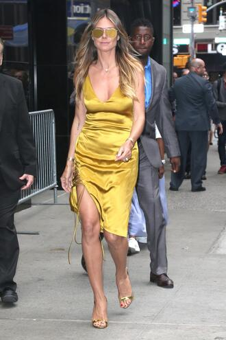 dress summer dress heidi klum midi dress sandals gold gold dress shoes