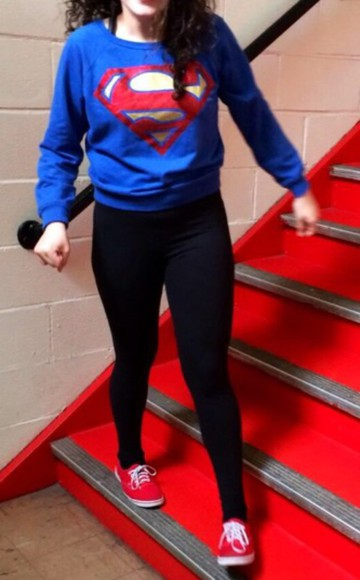 superman blue shirt blue black red style