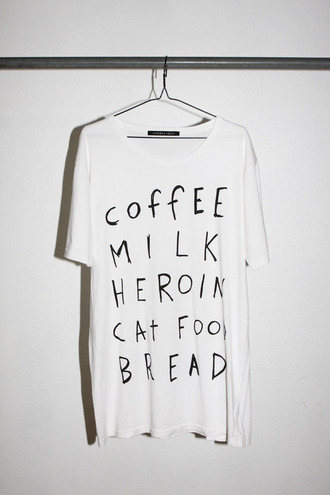 t-shirt coffe milk heroin cats food bread white