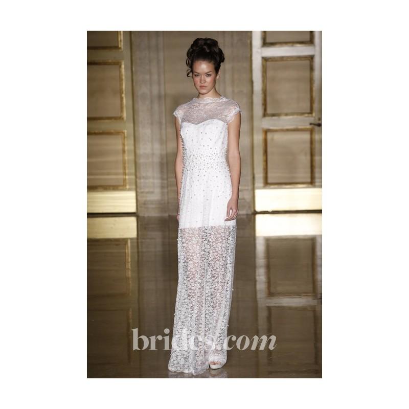 Douglas Hannant - Fall 2013 - Beaded Lace Sheath Wedding Dress with Cap Sleeves - Stunning Cheap Wedding Dresses|Prom Dresses On sale|Various Bridal Dresses