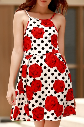 dress polka dots red fashion spring summer feminine girly
