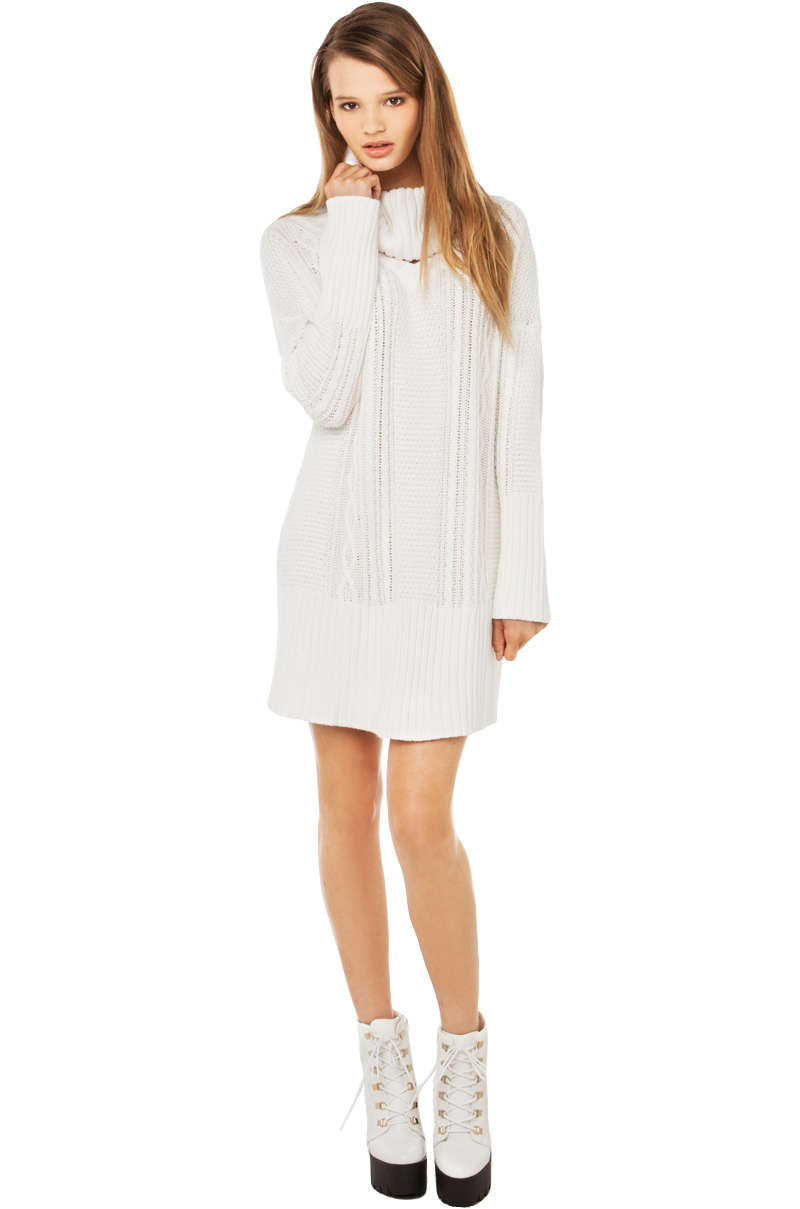 lovin' derailed cable knit sweater dress in white
