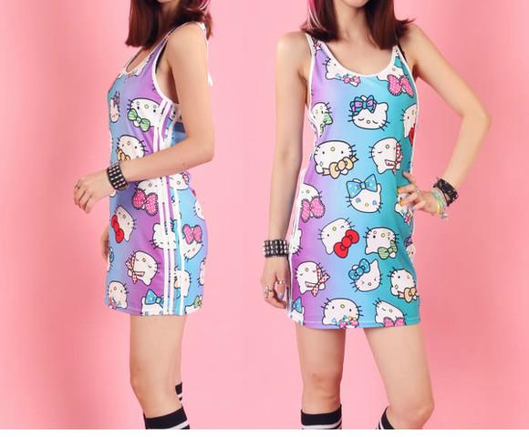 adorable kawaii harajuku fashion hello kitty pastel sanrio allover print cute dress street fashion pink