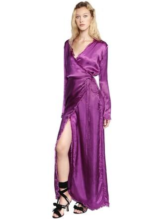 dress wrap dress silk satin purple