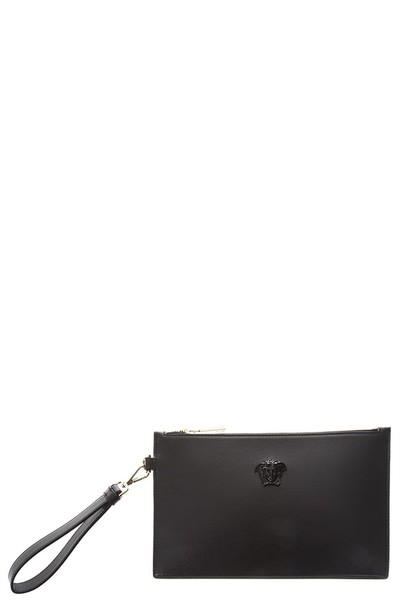 VERSACE pouch leather black bag