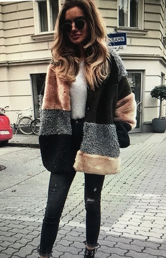coat faux fur faux fur coat pink grey white cardigan