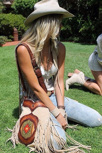 bag native american fringed bag country leather blouse belt hat
