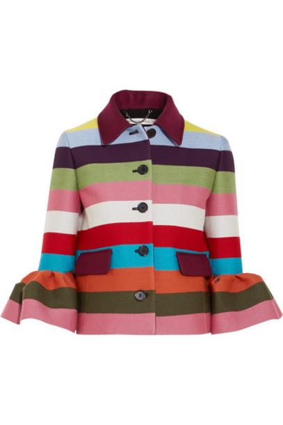 MARY KATRANTZOU jacket cropped wool burgundy