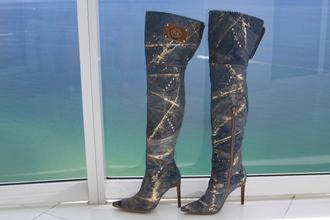 denim shoes gold boots thigh high boots