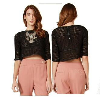 shirt net sheer crochet knitwear short sleeve crop tops top junior designer details