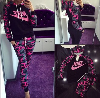 jumpsuit nike hoodie camouflage pink swag tracksuit pants outfit workout