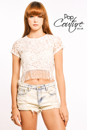 tank top,crop tops,crop,white fringe,shorts,denim shorts,lace,fringes,white lace,lace top,acid wash,bleached denim,distressed shorts,distressed denim,Pop Couture