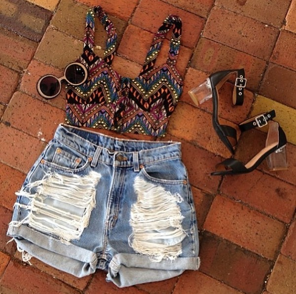 tank top distressed shorts High waisted shorts ripped shorts hipster aztec crop top bustier crop top shorts shoes sunglasses mid heel sandals