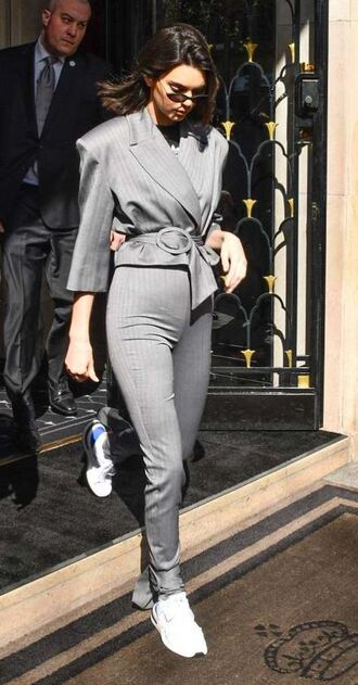jacket blazer grey suit pants top kendall jenner streetstyle model off-duty sneakers kardashians shoes sunglasses kendall jenner style keeping up with the kardashians model sunnies black sunglasses tiny sunglasses small sunglasses kendall jenner sunglasses