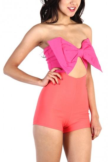 LoveMelrose.com From Harry & Molly | BOW FRONT ROMPER - Fushia