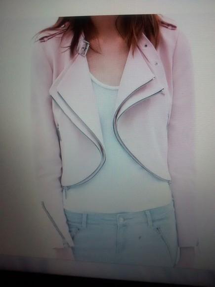 jacket pink jacket rose pastel pink cropped jacket zips zara
