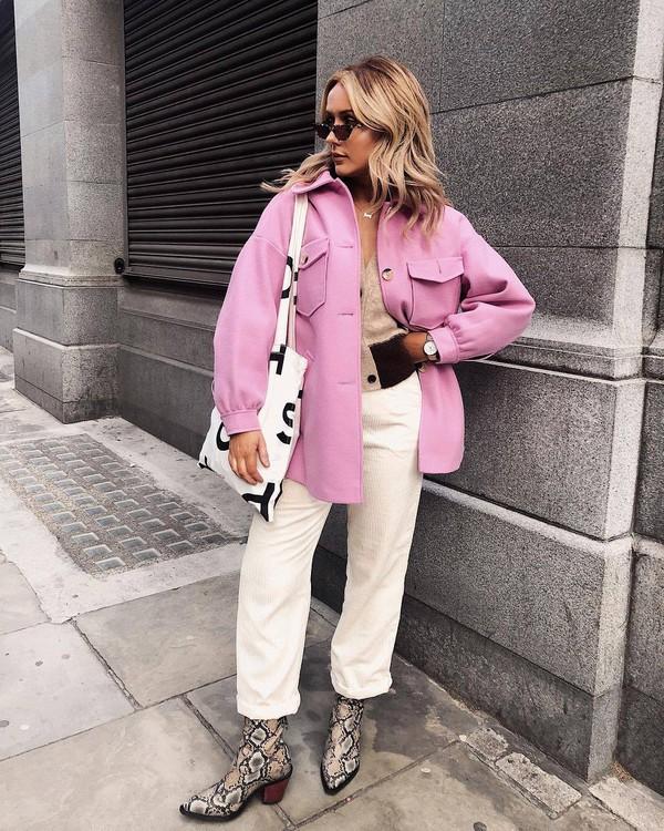 jacket pink jacket oversized jacket button up wide-leg pants cropped pants ankle boots snake print shoulder bag watch sunglasses