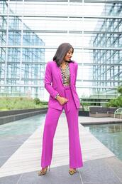 jadore-fashion,blogger,jacket,pants,blouse,suit,purple pants,purple jacket,leopard print