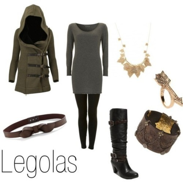 coat clothes necklace bracelets ring shoes shirt belt lotr the lord of the rings inspired legolas fashion green grey brown black gold cute jewels jeans