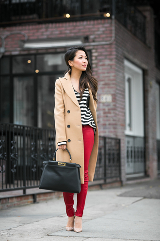 wendy's lookbook blogger camel coat skinny pants handbag striped top top coat shoes bag