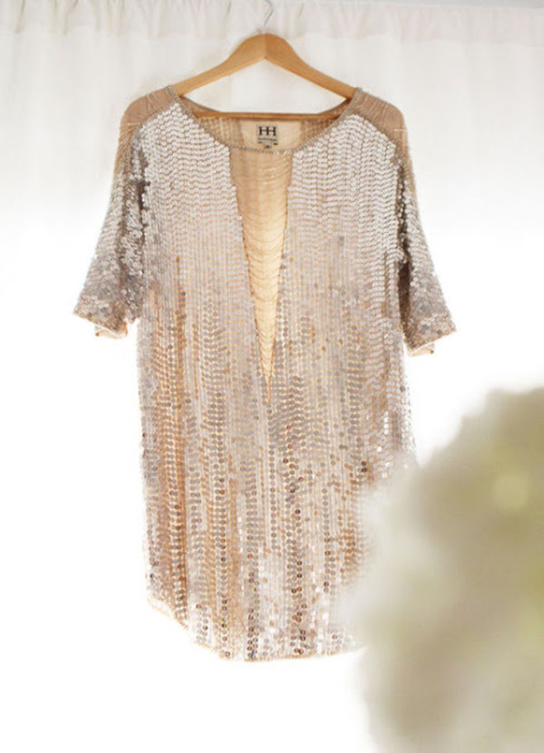 Dress: gold sequins, sequin dress, sequins, shirt, glittah, blouse ...