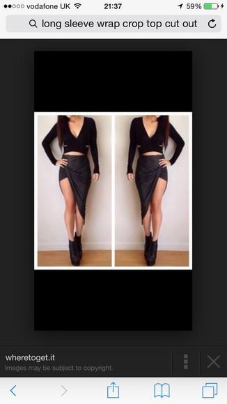black leather top black wrap
