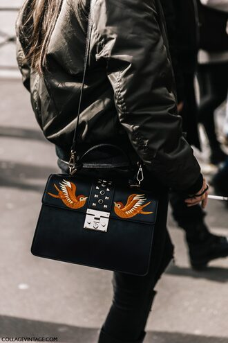 bag tumblr black bag embroidered embroidered bag shoulder bag jacket black jacket bomber jacket black bomber jacket streetstyle paris fashion week 2017 fashion week 2017 fashion week