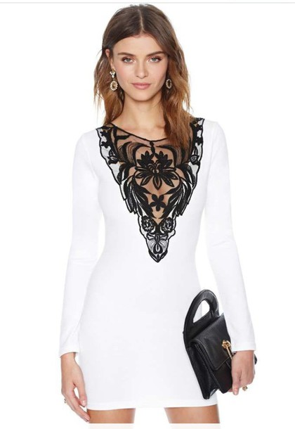 dress bodycon white black lace dress