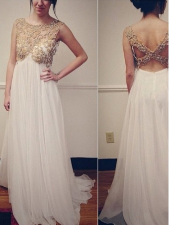 White Chiffon Beaded Backless Long Prom Dresses, Evening Dresses [B00231] - $258.99 : 24inshop