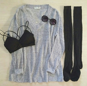sweater grey sweater oversized sweater sunglasses bralette over the knee socks socks hipster girly cute style stylish trendy tumblr cool tumblr sweater tumblr clothes girl blogger edgy instagram knitwear pretty preppy long date outfit fashionista chill rad casual on point clothing leggings tank top