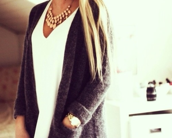 sweater cardigan grey top white blouse shirt jewels jacket knitted cardigan grey cardigan girly