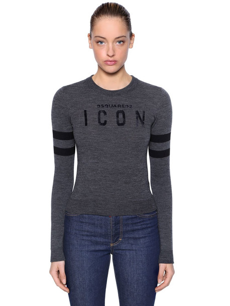 DSQUARED2 Icon Flocked Wool Blend Knit Sweater in grey