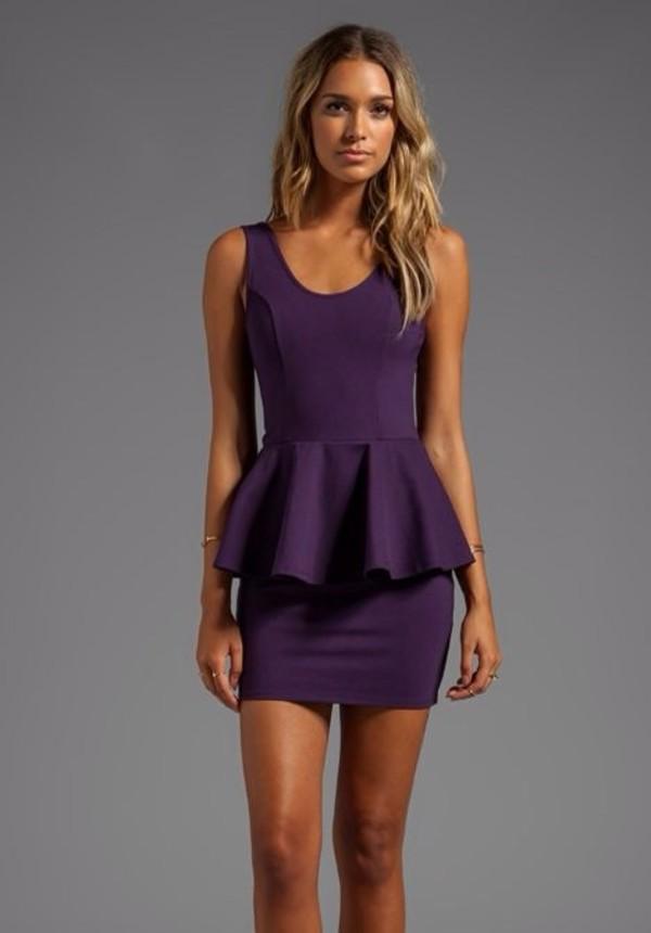 dress purple dress peplum