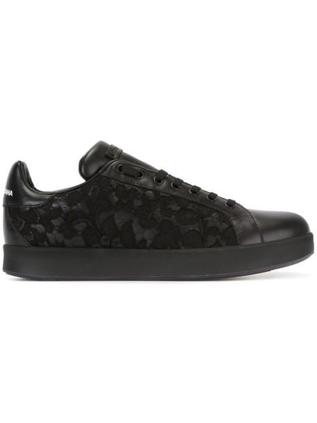 Dolce & Gabbana women sneakers leather cotton black shoes