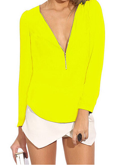 Neon yellow front zip v neck long sleeve t