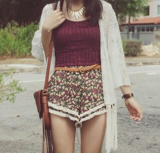 shorts flowered shorts burgundy top lace shorts kimono hat shirt swimwear sweater