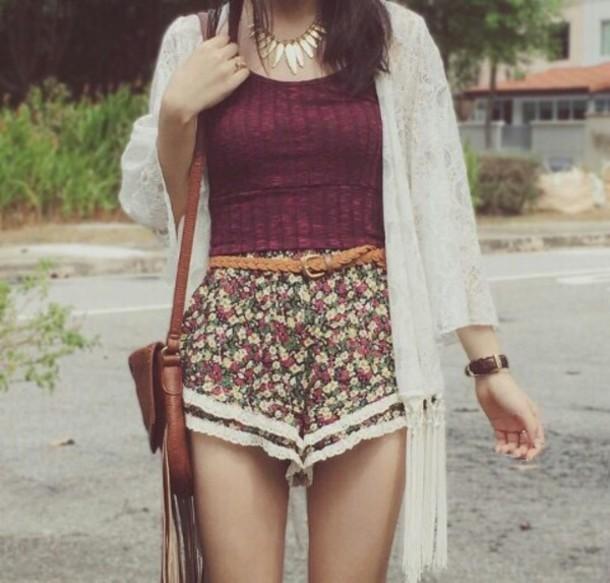 shorts flowered shorts burgundy top lace shorts kimono hat shirt swimwear sweater
