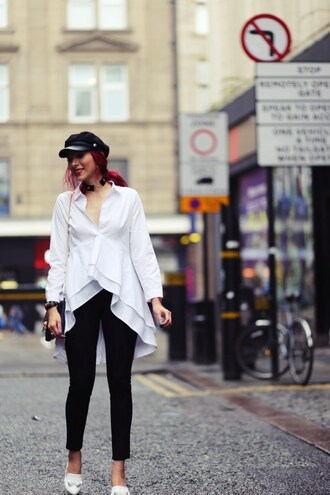 preppy fashionist blogger blouse leggings shoes bag fall outfits white shirt loafers black pants