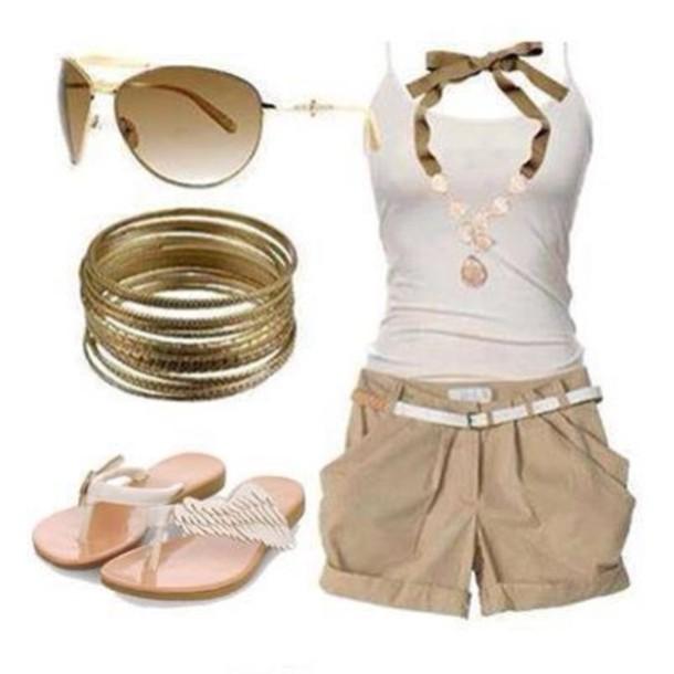 blouse necklace shorts