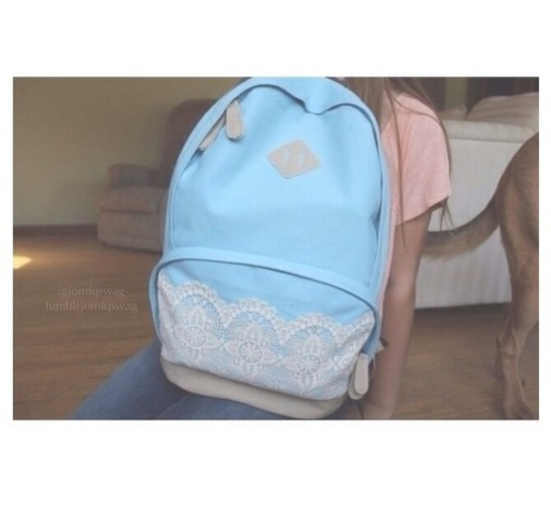 ... style tumblr school bag backpacks white lace backpack lace light blue