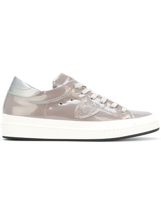 women sneakers lace leather grey shoes