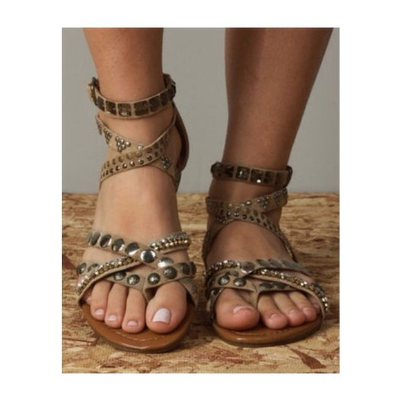 sandals studs shoes studded gladiators summer shoes gladiators brown shoes dress light brown