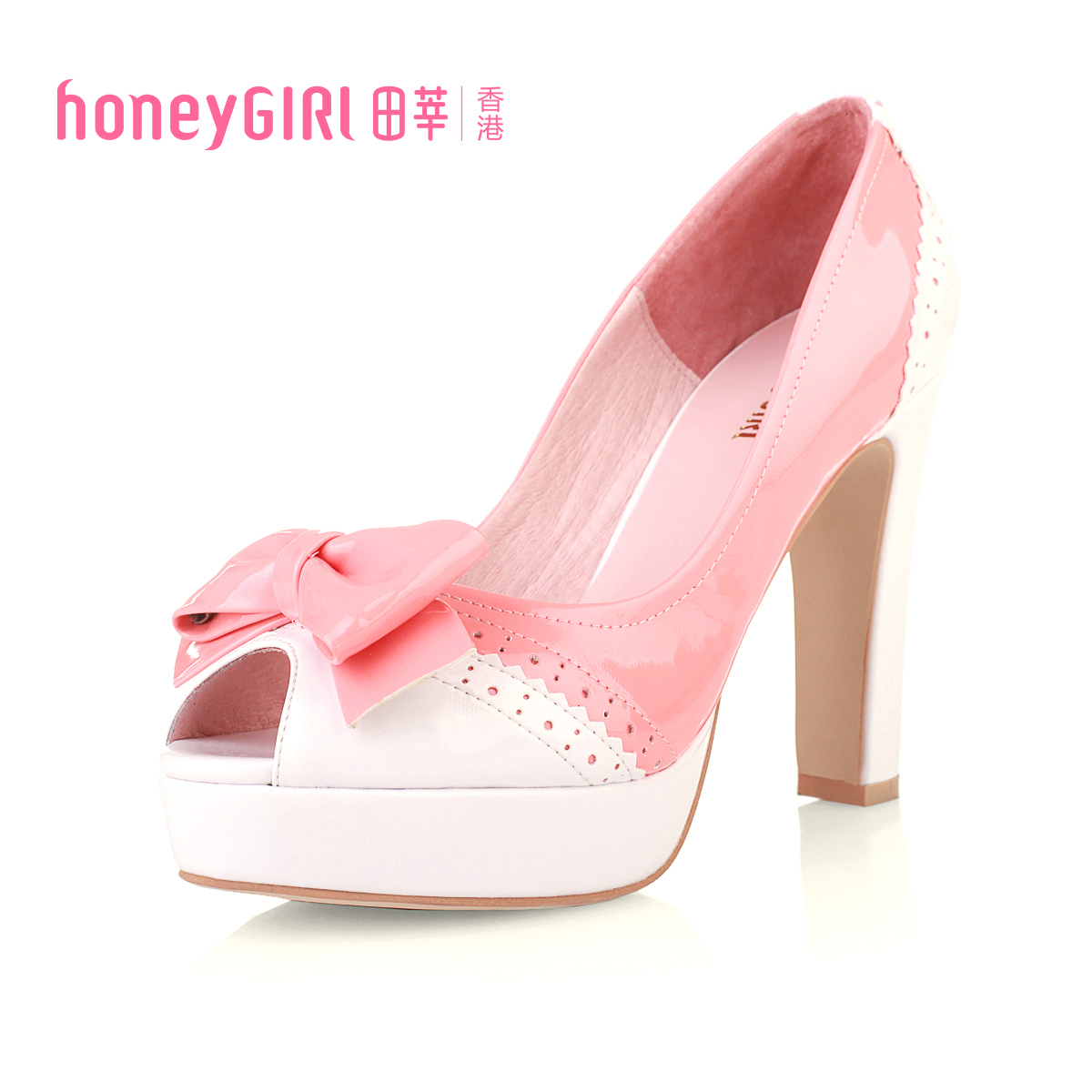Spring and summer new arrival honeygirl sweet color block decoration bow open toe high heeled shoes single shoes thick heel on Aliexpress.com