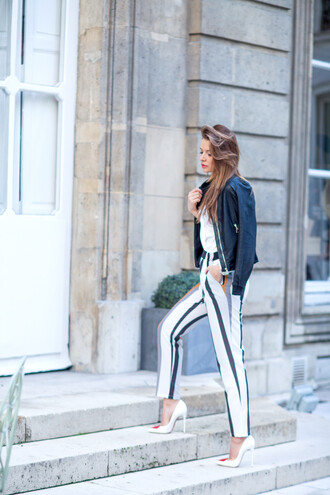the fashion fruit blogger jacket striped pants louboutin stilettos