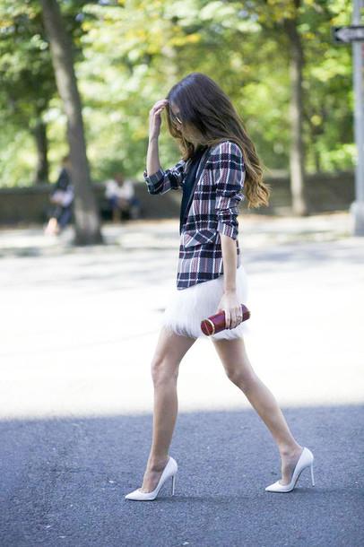 something navy blogger t-shirt jacket sunglasses bag louboutin printed blazer feather skirt mini skirt pumps pointed toe pumps high heel pumps white heels