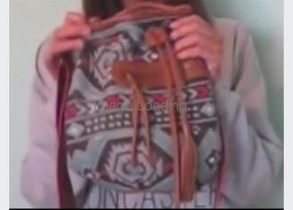 bag purse small to medium drawstring purse tribal pattern
