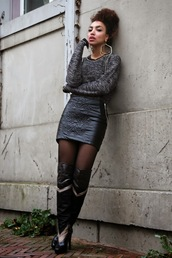 from hats to heels,blogger,embellished,leather skirt,earrings,thigh high boots,grey sweater